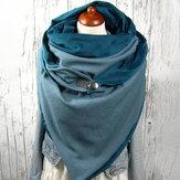 النساء القطن Plus سميكة الدفء الشتاء في الهواء الطلق عارضة الصلبة اللون متعددة الأغراض وشاح شال