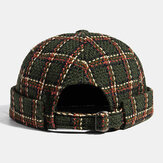 Collrown Unisex Casual British Style Plaids Pattern Brimless Beanie Landlord Hat Skull Hat