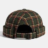 Collrown Unisex Casual British Style Plaids Muster Krempe Beanie Vermieter Hut Schädel Hut