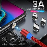 USLION 3A Kabel USB na USB-C / Micro USB Magnetický kabel s rychlým nabíjením pro přenos dat Délka 1 m / 2 m Pro Samsung Galaxy Note 20 Pro iPad Pro 2020 MacBook Air 2020 Mi 10 Huawei P40 OnePlus 8 OnePlus 8 Pro