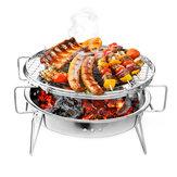 BeweglicherfaltenderGrillBBQ-Holzkohlen-Grill-Edelstahl-Patio-kampierendesPicknick,das Ofen kocht