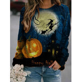 Dames Halloween Element Allover Print Ronde hals Losse pullover-sweatshirts