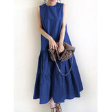 Women Sleeveless Solid Color O-neck Casual Layered Maxi Dress