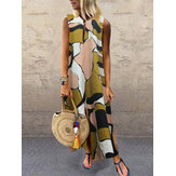 Plus Size Casual Art Print V-neck Sleeveless Holiday Maxi Dress