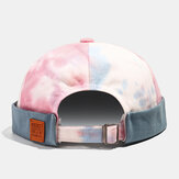 Collrown Mens's Cotton Color Matching Tie-dye Brimless Hats Skull Caps