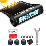 Solar TPMS Tire Pressure Monitor System 4 External Sensors For RV Truck Trailer