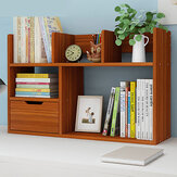 Desktop Book Stand 2 Tiers Organizer Storage Shelf Rack Bookshelf with Drawers for Home Office