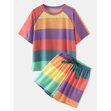 Women Colorful Striped Short Sleeve Comfy Casual Sleepwear Two Pieces Set Pajamas