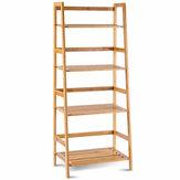 5 Layers Bamboo Bookshelf Storage Shelf Display Shelf Bookcase Plants Bamboo Bracket Trapezoidal Shelf