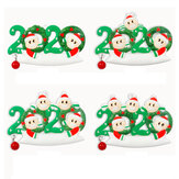2020 Christmas Family Figurine Ornaments Xmas Tree Santa Claus Snowman Pendants Thanksgiving Toys with Bells for Gift Home Decorations