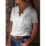 Pure Color V Neck Short Sleeve Casual Blouse