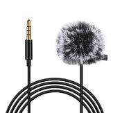 Microfone com fio de 3,5 mm PULUZ PU3045 3M Microfone condensador omnidirecional de lapela para gravação de vídeo e gravação de vlog