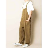 Heren 100% katoen Multi Pockets Straight Wide Leg Loose Fit Overalls Broeken