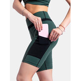 Dames contrasterende kleuren Pocket Fitness Workout Biker Shorts