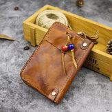 Mężczyźni ze skóry naturalnej wykonane ze starego koralika dekoracja na co dzień mały brelok do kluczy samochodowych torba na monety portfel