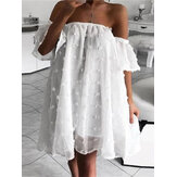 Off Shoulder Loose Jacquard Breathable Thin Casual Mini Dress