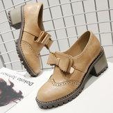 KobietyOxfordRetroBrogueButterflyKnot Shoes
