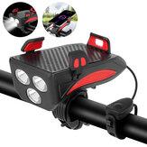 XANES® 4-i-1 400LM cykellampe + USB-hornlampe + telefonhold + strømbank 3 tilstande LED-forlygte 5 tilstande Horn Vandtæt cykelcykel