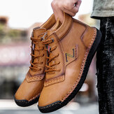 Men Hand Stitching Microfiber Leather Non Slip Casual Ankle Boots