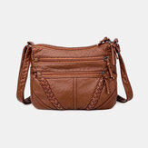 Women Multi-pocket Middle-aged Vintage Crossbody Bag Shoulder Bag