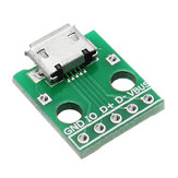 20st micro USB naar Dip Female Socket B Type microfoon 5P Patch Om Dip 2.54mm Pin Met Soldeeradapter Board