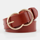 Mulheres PU Leather Double Ring Buckle Retro Fashion Calças Cinto