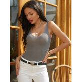 Women Solid Color Bright Wire V-neck Knit Slim Bottoming Tank Top