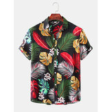 Men Tropical Plant Leaves Print Button Up Turn Down Collar Hawaii Holiday Short Sleeve Shirts