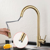 Матовый золотой смеситель для кухонной раковины Выдвижной водопроводный кран Однорычажный смеситель 360 Поворот