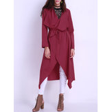 Pure Color Duster Jacket With Belt