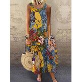 Женщины Винтаж O-образным вырезом без рукавов Свободные мешковатые летние повседневные длинные макси Платье
