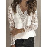Suéter casual de color sólido con cuello en V y encaje de mujer