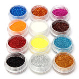 12 Colors Acrylic Nail Art Tips Glitter Powder Dust