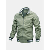 Mens Solid Color Pocket Zipper Stand Collar Sports Casual Long Sleeve Jackets