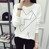 Women Casual Line O-Neck Printing Pullovers