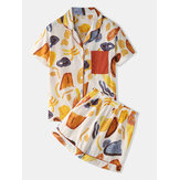 Women Colorful Graffiti Print Revere Collar Pocket Button Up Casual Short Sleeve Pajama Set