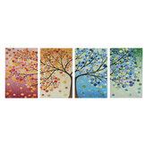4 pezzi di arte della parete della tela di canapa pittura 40 * 60 cm immagini appese stagione alberi soggiorno decorazione della sala forniture senza cornice