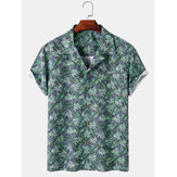Tropical Leaves Print Mens Hawaii Casual Revere Collar Camisetas de manga corta