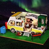 iiecreate K-037 DIY Кукла Дом отдыха и досуга Автомобиль для отдыха с музыкальным движением