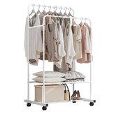 82x18x5cm Ağır Hizmet Tipi Metal Konfeksiyon Çift Raylı Elbise Askılı Asma Raf ve Raf Standı