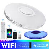 39CMRGBブルートゥースWIFILEDシーリングライト調光可能な音楽スピーカーランプ、屋内家庭用リモコン付き85-265V