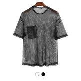 メンズメッシュTシャツシースルーフィッシュネット半袖パーティーパフォーマンスストリートトップスハイキングサイクリングフィットネス