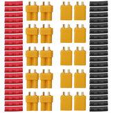 10 Par URUAV XT30U Conectores hembra de bala macho Enchufe de alimentación con tubo termorretráctil para batería Lipo