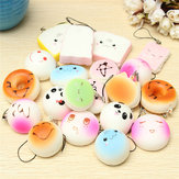 20PCS Tilfældig Medium Mini Squishy Soft Panda Bread Cake Buns Phone Straps