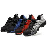 Erkekler Örme Kumaş Çelik Burunlu Anti Smashing İş Güvenliği Spor Ayakkabıları