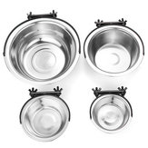 Stainless Steel Pet Dog Puppy Hanging Food Water Bowl Feeder For Crate Cage Coop Decorations