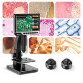MUSTOOL MT315 2000X Dual Lens Digital Microscope 7-inch HD IPS Large Screen Multiple Lens for Circuit/Cells Observation Up&Down Light Source Support Computer Viewing
