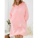 Cobertor feminino de flanela espessa com capuz robe superdimensionado aconchegante com bolso grande