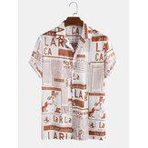 メンズデザイナー新聞印刷リベア襟カジュアル半袖シャツ