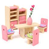 Conjunto de muñecas de madera para niños Juguetes Kit de muebles para familias de casa miniatura